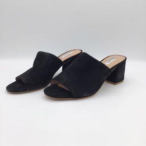 Halogen peep toe mules black suede Size 8 M